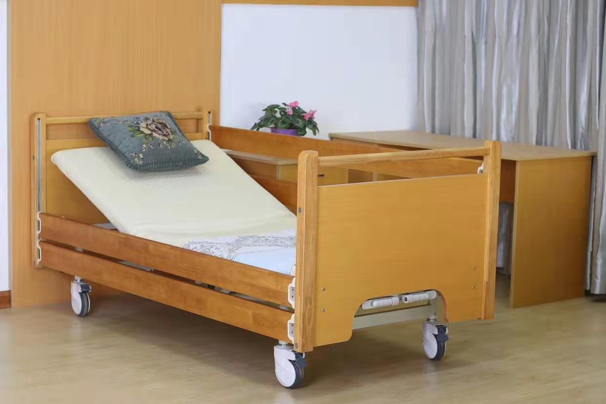 京祝Y02养老院用护理床(上下滑动实木护栏)